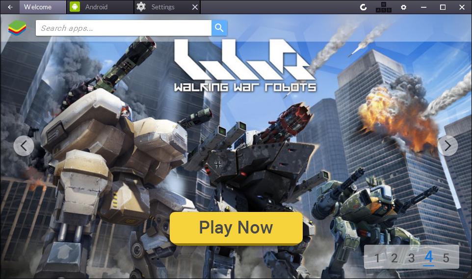 BlueStacks - экран приветствия