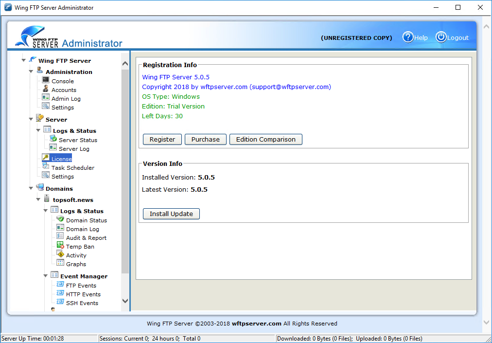 Wing FTP Server 5.0.5 получил встроенный HTML5 плеер под веб-клиент