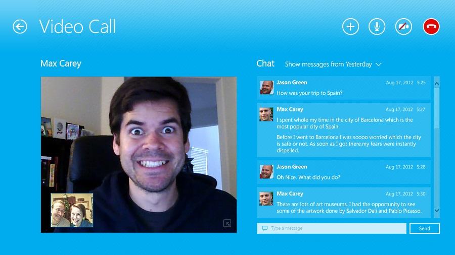 Skype - интерфейс программы (metro)