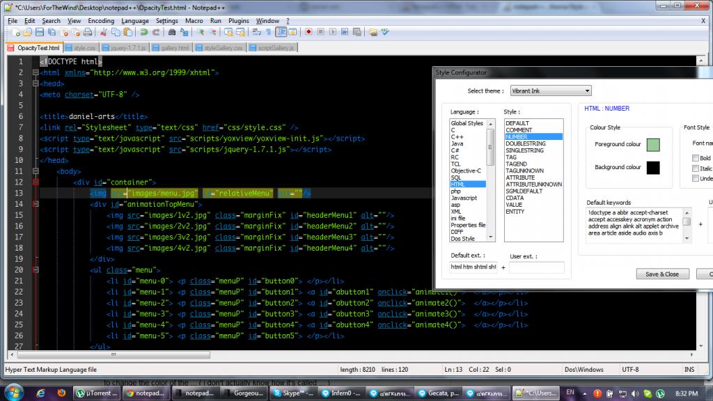 Notepad++ - интерфейс программы с плагинами
