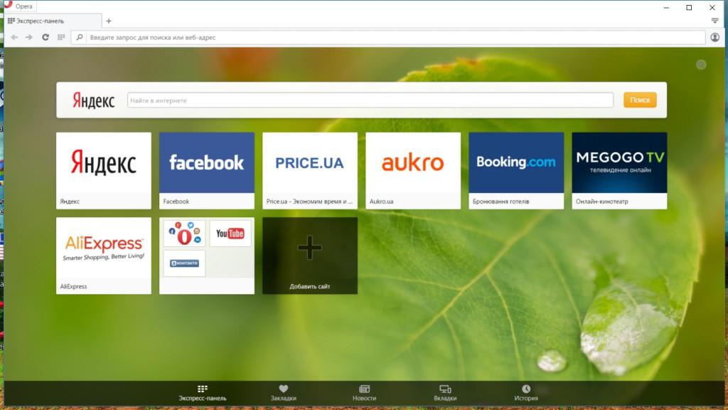 Opera - интерфейс программы