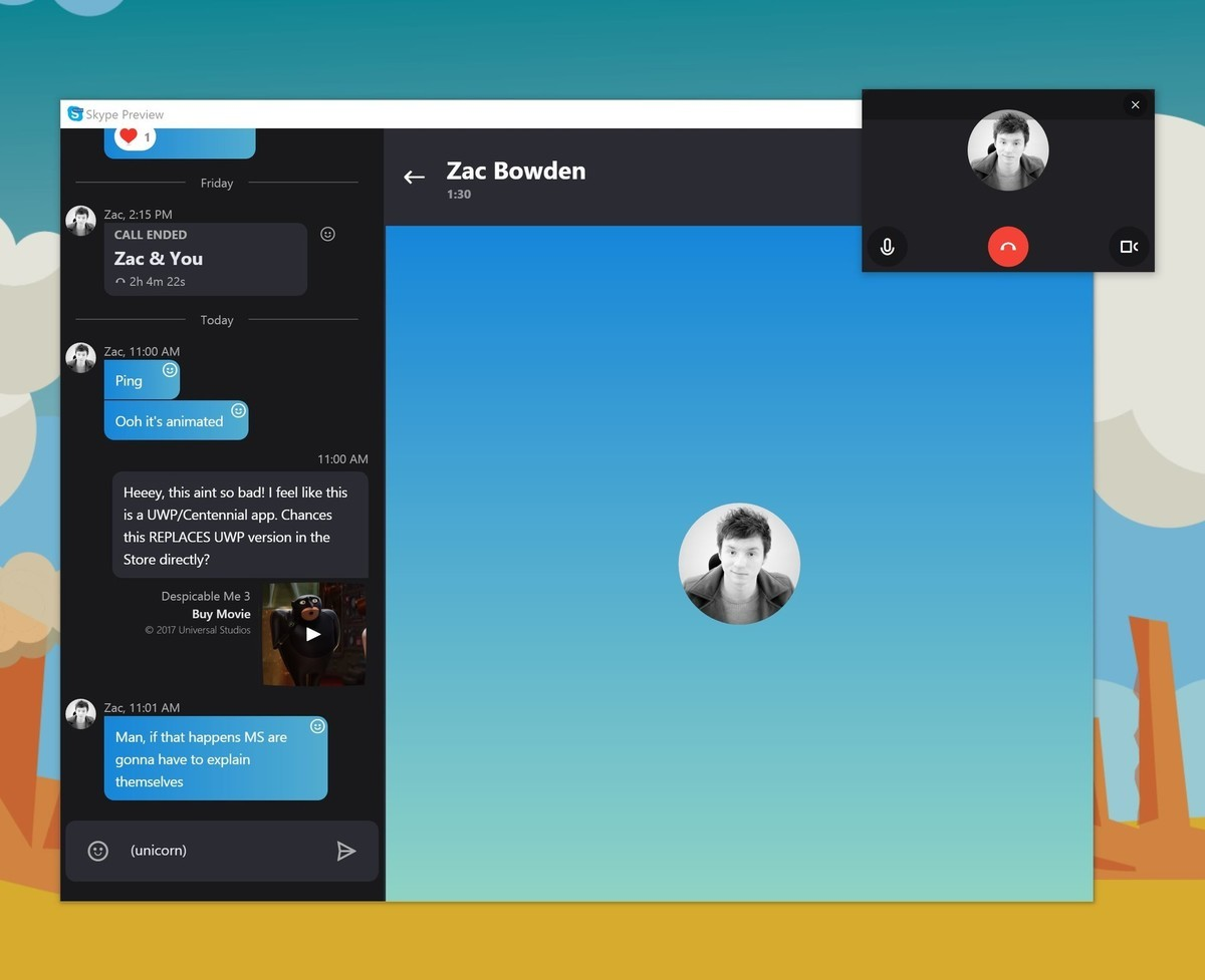 Skype Preview для Windows 10