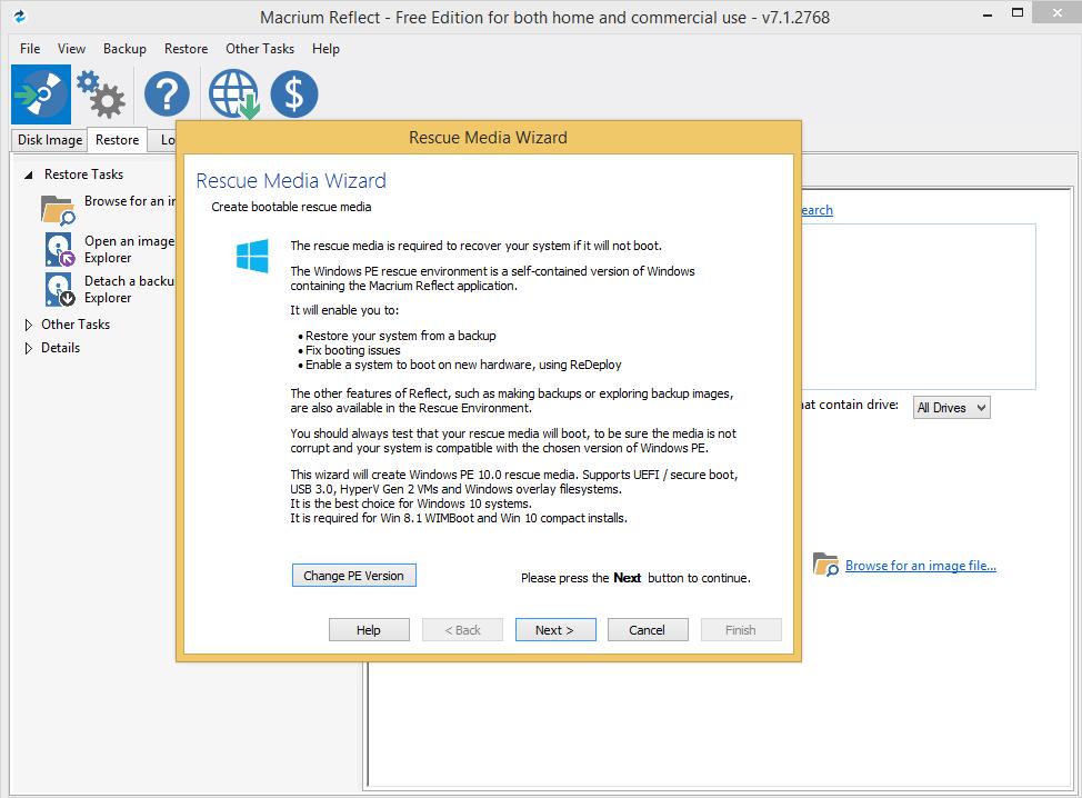 Macrium Reflect 7.1.2768 исправил ошибки, связанные с восстановлением образов через viBoot