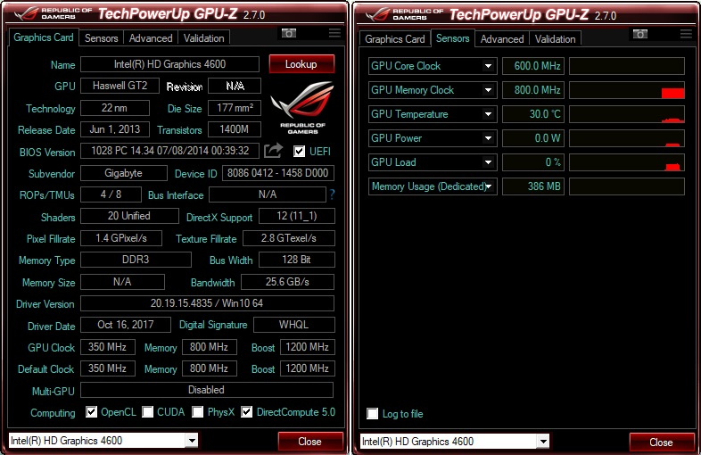 GPU-Z со скином от Asus