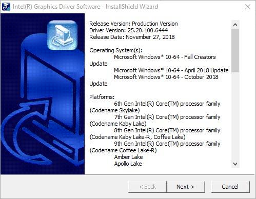 Intel Graphics Windows 10 DCH