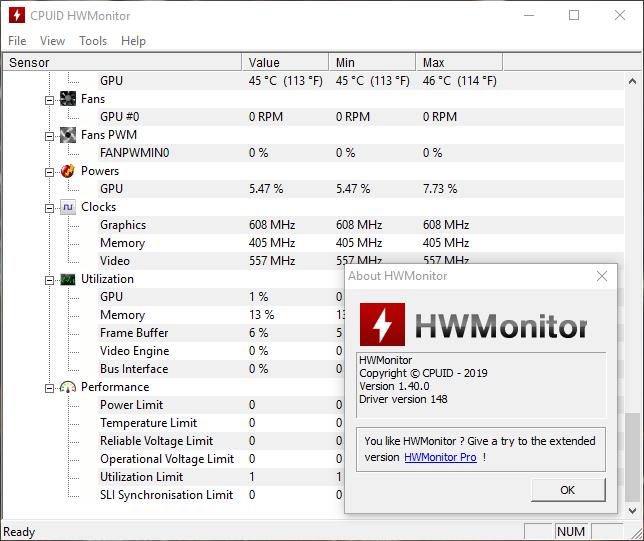 HWMonitor 1 40 добавил поддержку видеокарт AMD Radeon VII и NVIDIA